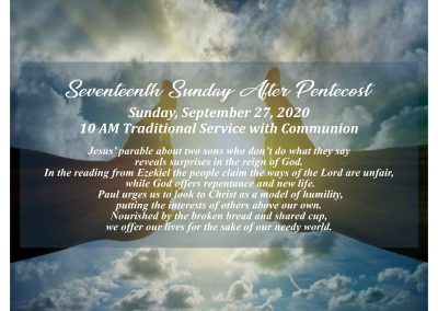 10 AM Traditional Worship Service – 17th Sunday After Pentecost