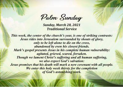 Streamed Worship Service – Palm Sunday