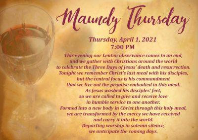 Streamed Worship Service – Maundy Thursday