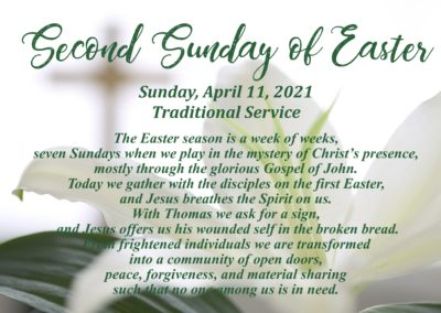 Streamed Worship Service – Second Sunday of Easter
