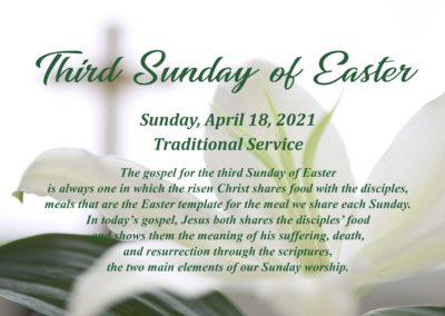 Streamed Worship Service – Third Sunday of Easter