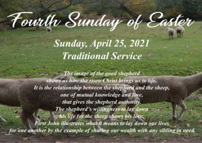 Streamed Worship Service – Fourth Sunday of Easter