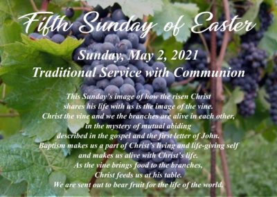 Streamed Worship Service – Fifth Sunday of Easter