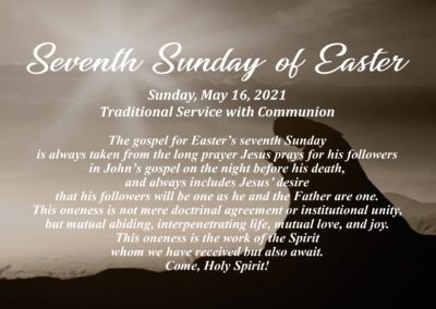 Streamed Worship Service – Seventh Sunday of Easter