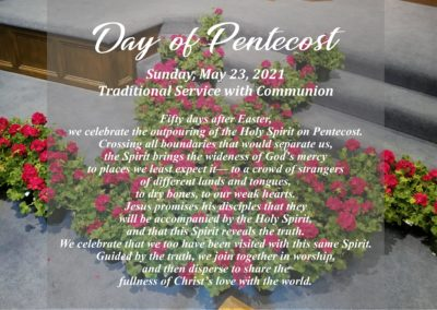 Streamed Worship Service – Day of Pentecost
