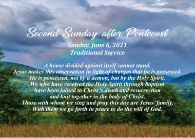 Streamed Worship Service – Second Sunday after Pentecost