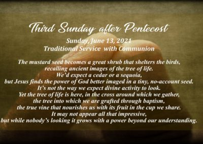 Streamed Worship Service – 3rd Sunday after Pentecost