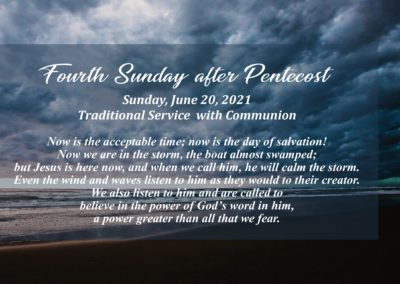 Streamed Worship Service – 4th Sunday after Pentecost