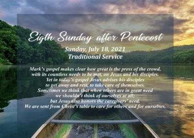 Streamed Worship Service – 8th Sunday after Pentecost
