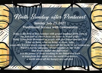 Streamed Worship Service – 9th Sunday after Pentecost
