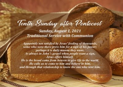Streamed Worship Service – 10th Sunday after Pentecost