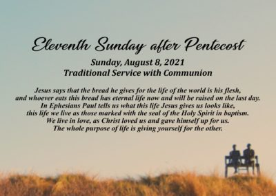 Streamed Worship Service – 11th Sunday after Pentecost