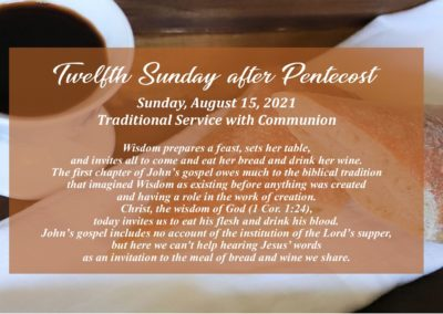 Streamed Worship Service – 12th Sunday after Pentecost
