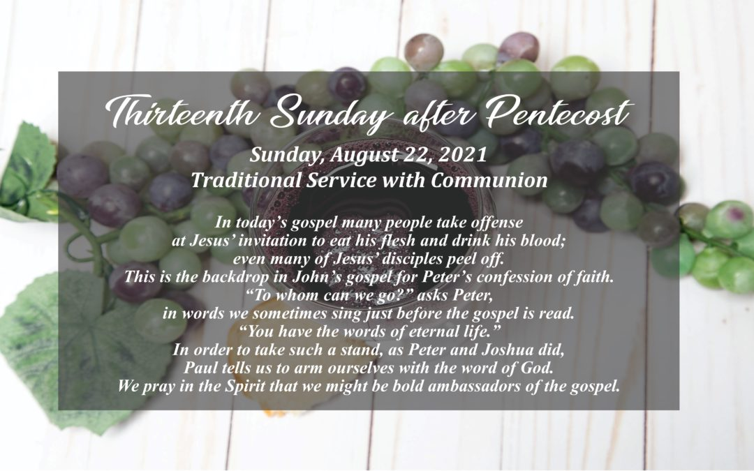 Streamed Worship Service – 13th Sunday after Pentecost
