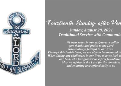 Streamed Worship Service – 14th Sunday after Pentecost