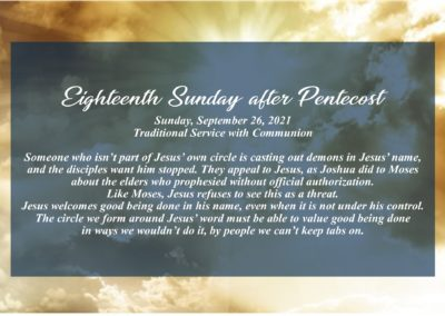 Streamed Worship Service – 18th Sunday after Pentecost