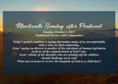 Streamed Worship Service – 19th Sunday after Pentecost