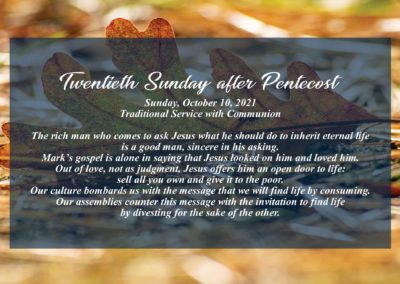 Streamed Worship Service – 20th Sunday after Pentecost