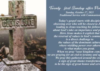 Streamed Worship Service – 21st Sunday After Pentecost